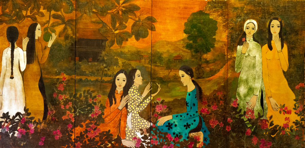 LADIES IN THE GARDEN THIẾU NỮ TRONG VƯỜN  lacquer on panel (tytratych) each: 160 x 80 cm  overall: 160 x 320 cm