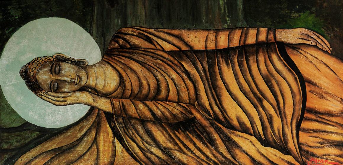 RECLINING BUDDHA TƯỢNG PHẬT NẰM lacquer on panel 80 x 160 cm